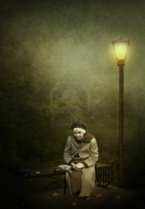 16588033-two-lonely-old-woman-a-kitten-on-a-bench-under-a-street-lamp-loneliness
