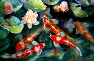 water fish pond koi artwork lotus flower 1504x991 wallpaper_www.wallpaperhi.com_4